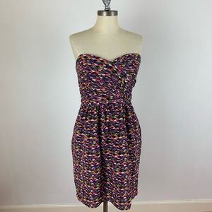 Shoshanna Colorful Patterned Strapless Dress